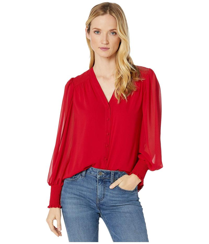 ヴィンスカムート レディース シャツ トップス Long Sleeve Smocked Cuff V-Neck Button-Down Blouse Tulip Red
