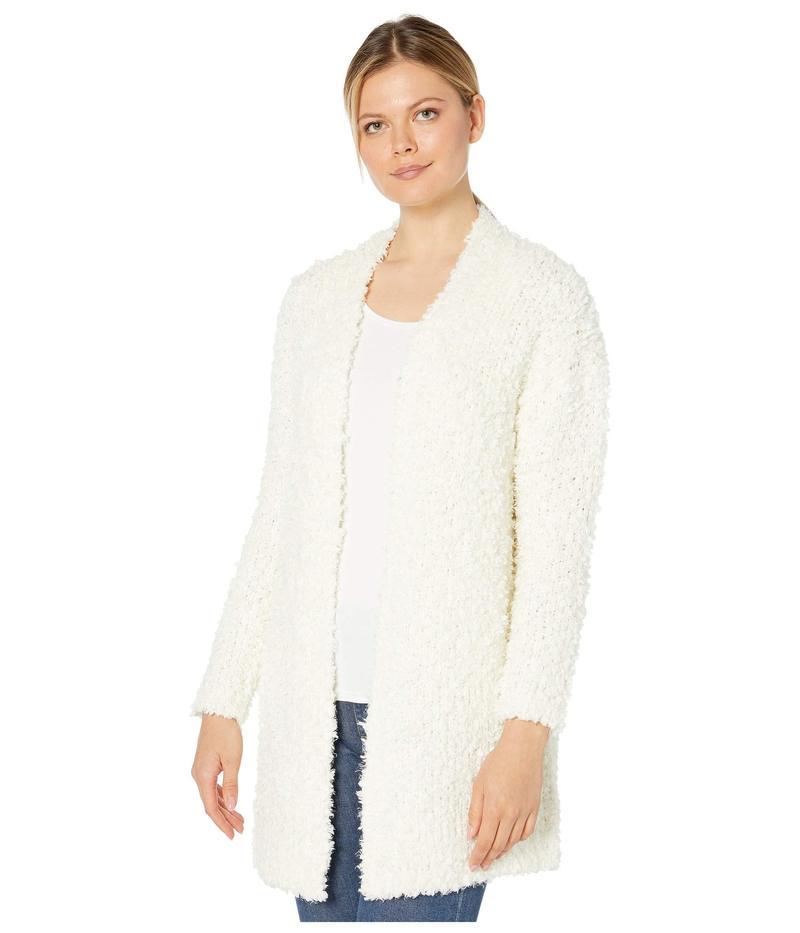 トゥーバイビンスカムート レディース ニット・セーター アウター Long Sleeve Poodle Yarn Open Front Cardigan Antique White