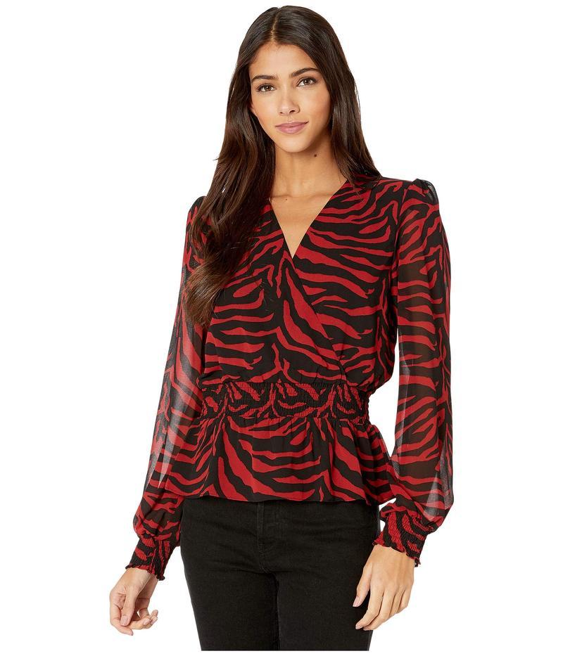 ワイフ レディース シャツ トップス Kody Smocked Waist Peplum Top Red/Black Zebra