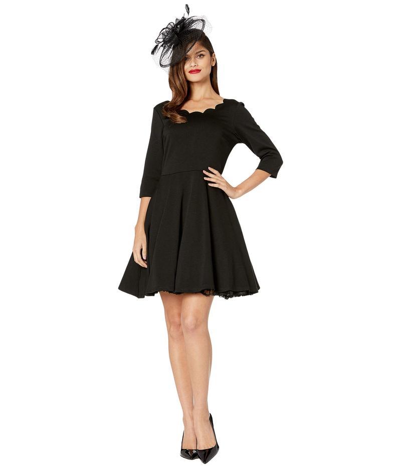 ユニークビンテージ レディース ワンピース トップス Smak Parlour for Unique Vintage 3/4 Sleeved Charmed Fit-and-Flare Dress Black