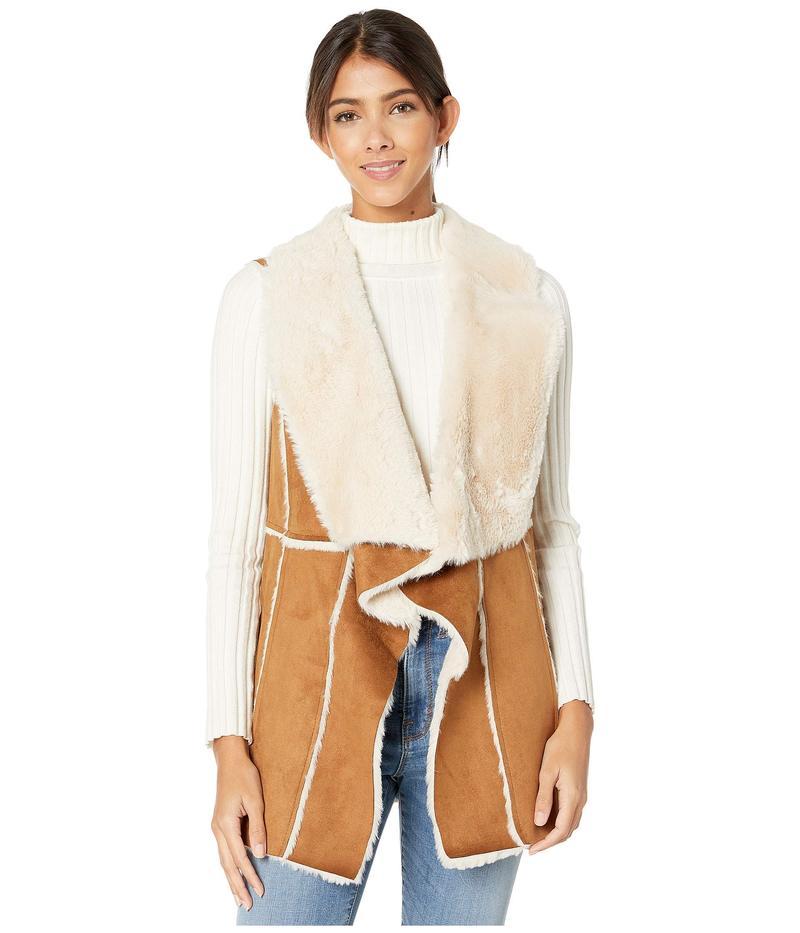 カップケーキアンドカシミア レディース コート アウター Tash Faux Suede and Fur Drape Front Vest Butterscotch
