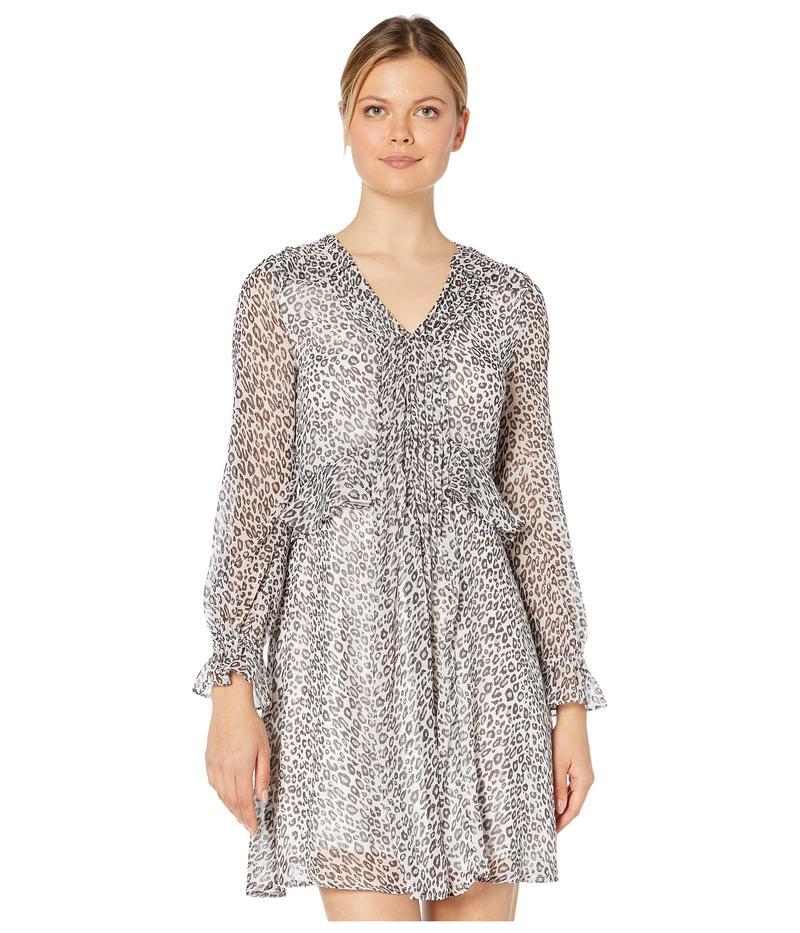 セセ レディース ワンピース トップス Long Sleeve Mountain Leopard Pintuck Dress Soft Pewter