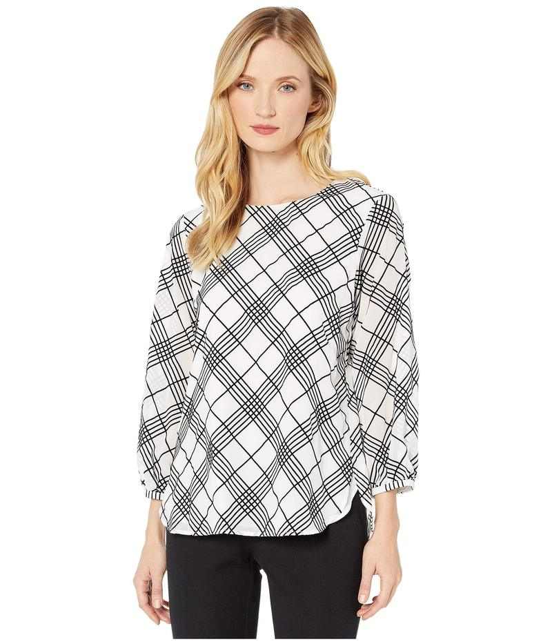 カルバンクライン レディース シャツ トップス Grid Long Sleeve Blouse Soft White/Blac