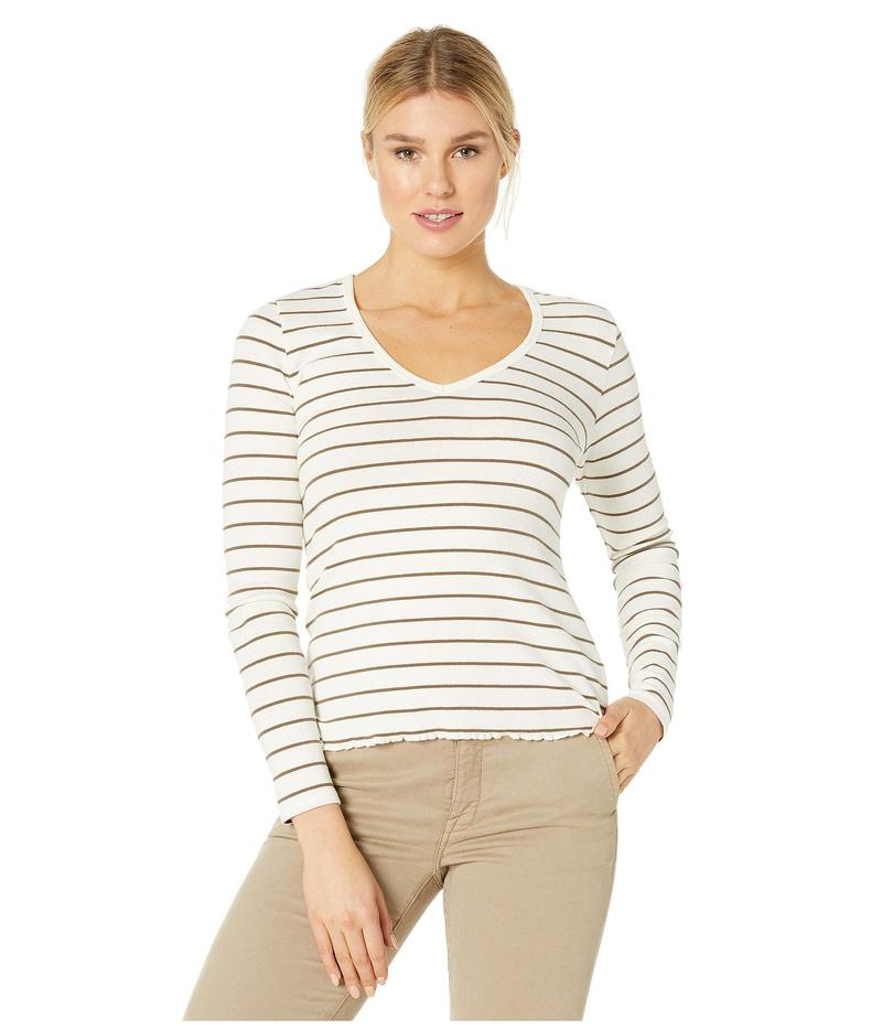 リラピー レディース シャツ トップス Fine Rib Long Sleeve V-Neck Tee Truffle Stripe