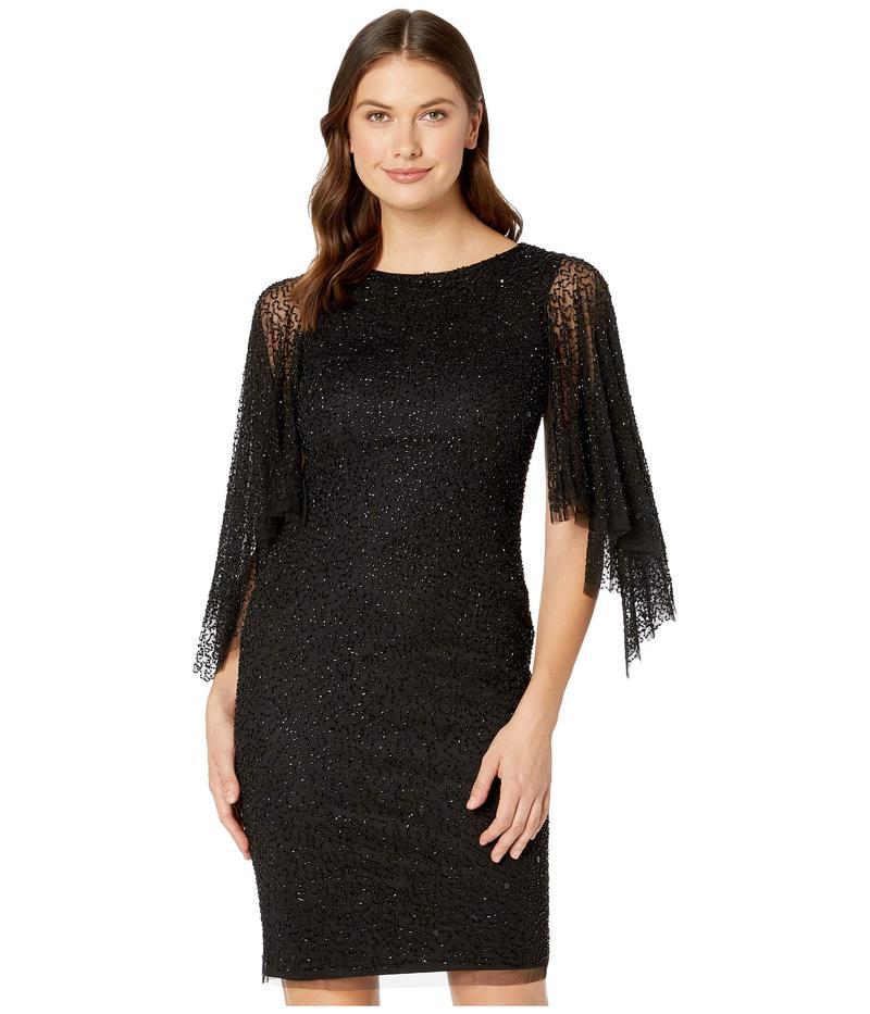 アドリアナ パペル レディース ワンピース トップス Beaded Cocktail Dress with Flutter Sleeves Black