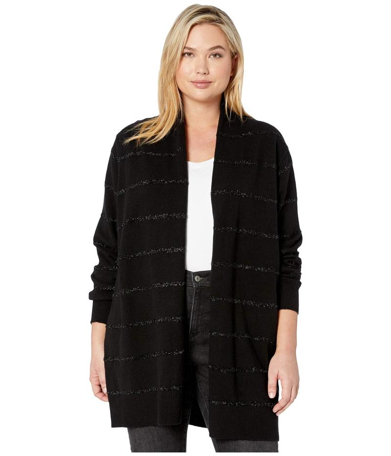 マイケルコース レディース ニット・セーター アウター Plus Size Tinsel Stripe Long Cardigan Black