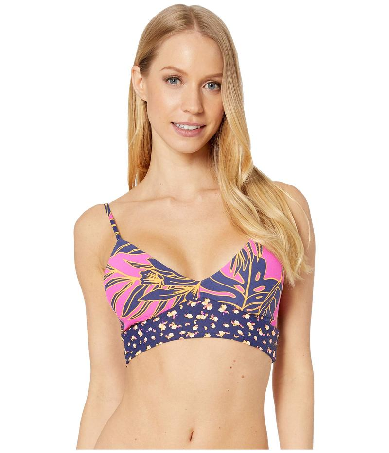 マージ レディース トップのみ 水着 Hibiscus Daydream Reversible Long Line Bralette Bikini Top Hibiscus Pink F
