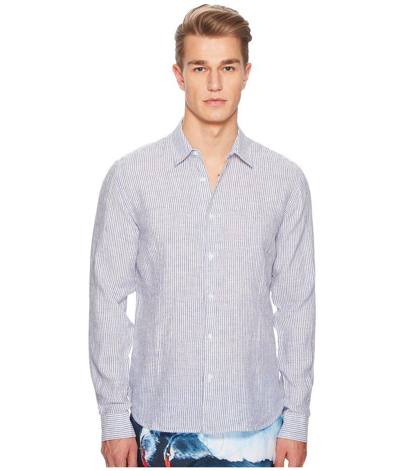 オールバー ブラウン メンズ シャツ トップス Morton Long Sleeve Linen Stripe Shirt Navy/White