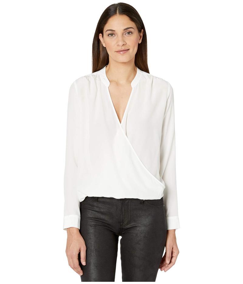 スプレンディット レディース シャツ トップス Long Sleeve Silk Mixed Media Surplice Top White