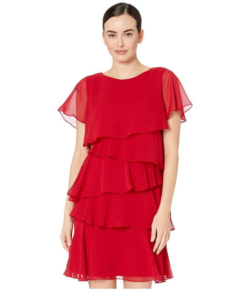 タハリ レディース ワンピース トップス Tiered Chiffon Flutter Sleeve Dress Ruby