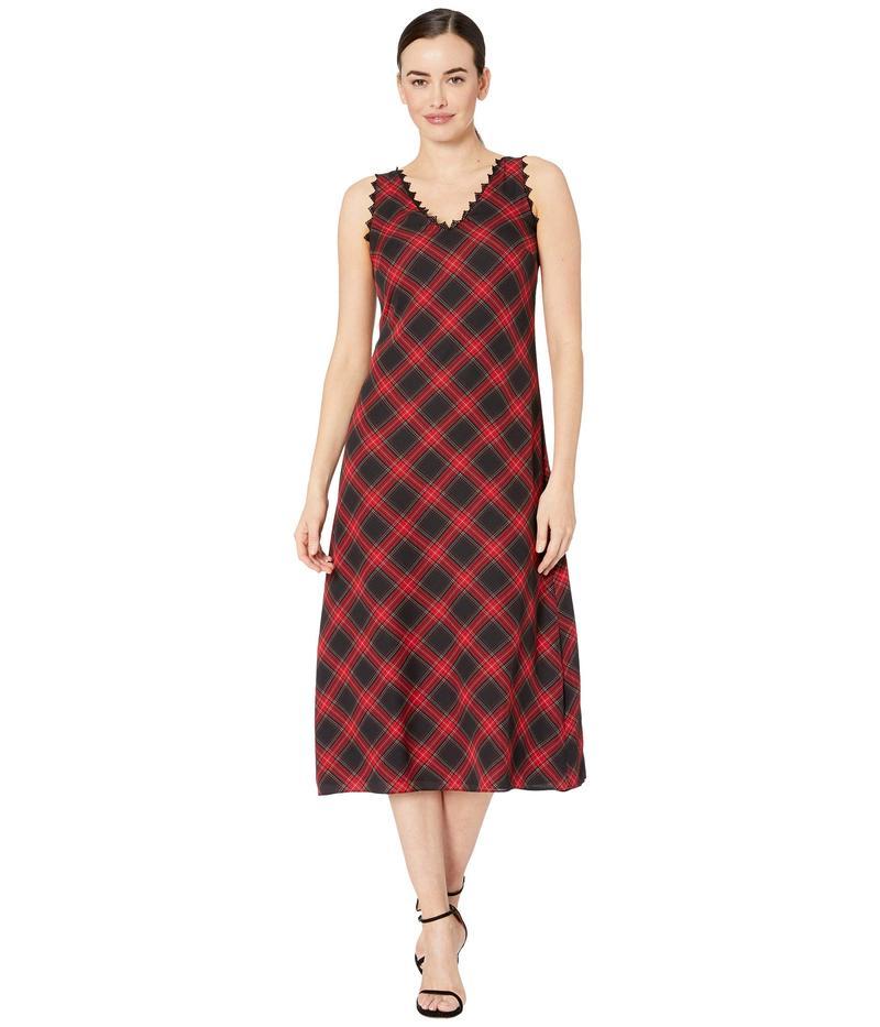 ヴィンスカムート レディース ワンピース トップス Sleeveless Elegant Tartan Maxi Dress w/ Lace Trim Rich Black