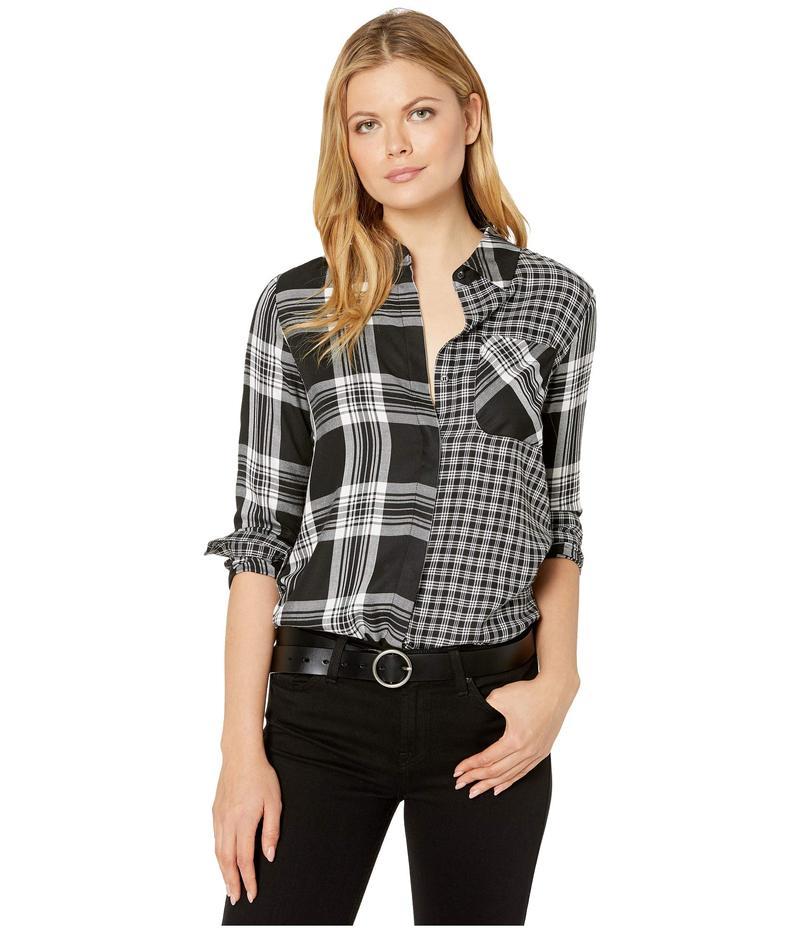 トゥーバイビンスカムート レディース シャツ トップス Roll Sleeve Mix Plaid Shift One-Pocket Shirt Rich Black