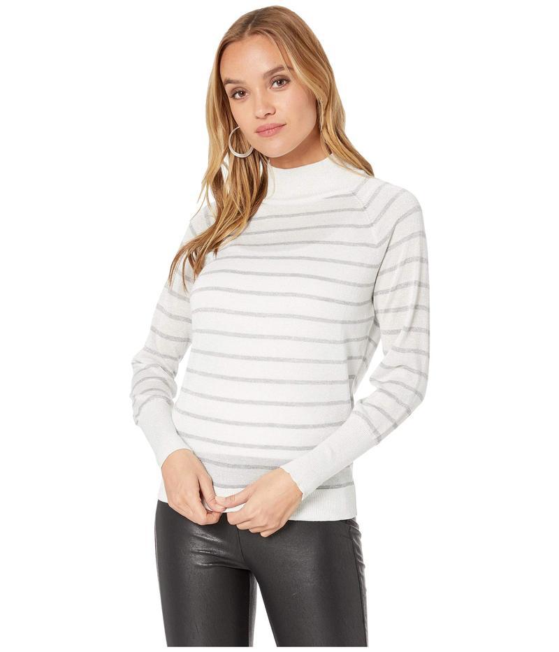 チェイサー レディース ニット・セーター アウター Striped Lurex Turtleneck Sweater Cream/Silver St