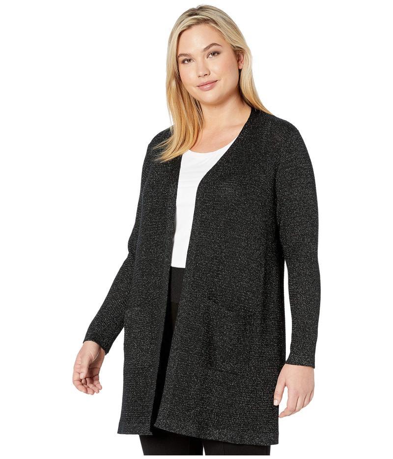 エイリーンフィッシャー レディース ニット・セーター アウター Plus Size Merino Sparkle Straight Long Cardi Black