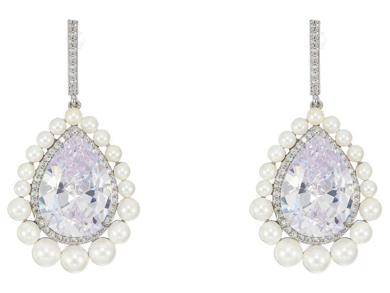 ニナ レディース ピアス・イヤリング アクセサリー Pearl Haloed Pear Cut CZ Earrings Rhodium/White P