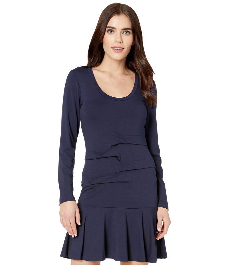 ニコルミラー レディース ワンピース トップス Solid Jersey Scoop Neck Long Sleeve Dress Navy