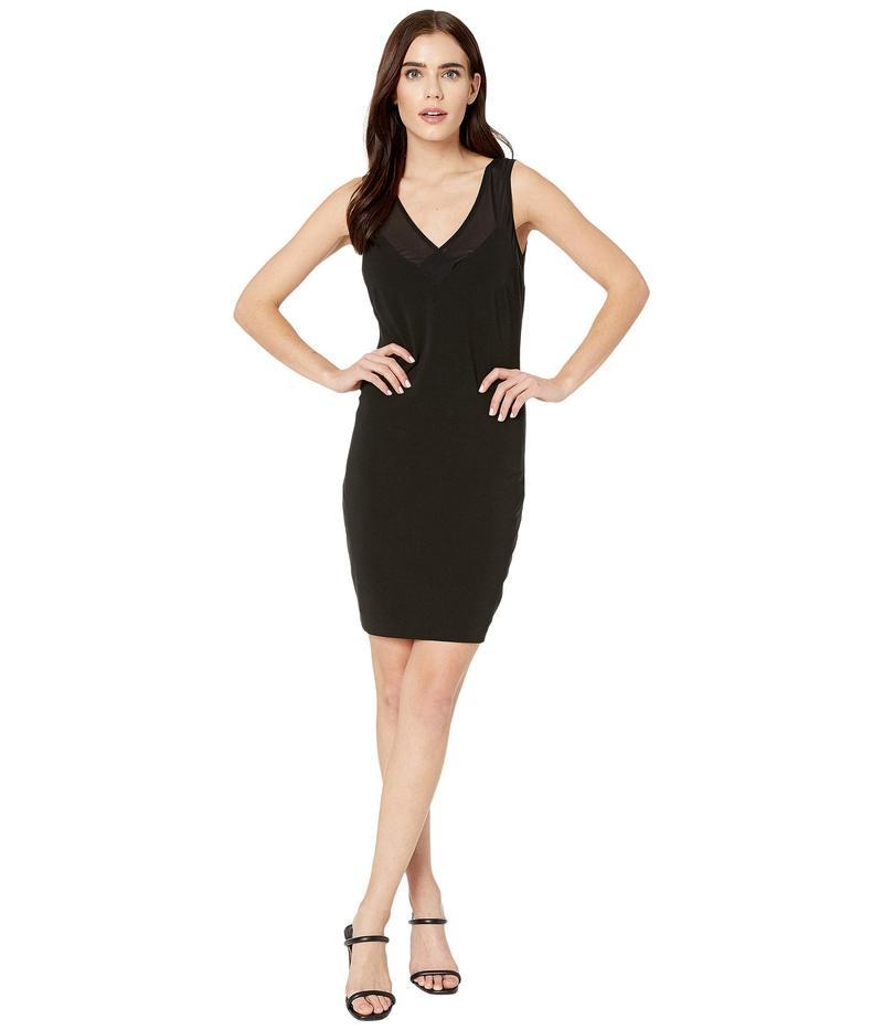 ニコルミラー レディース ワンピース トップス Heavy Jersey/Mesh V-Neck Sleeveless Dress Black
