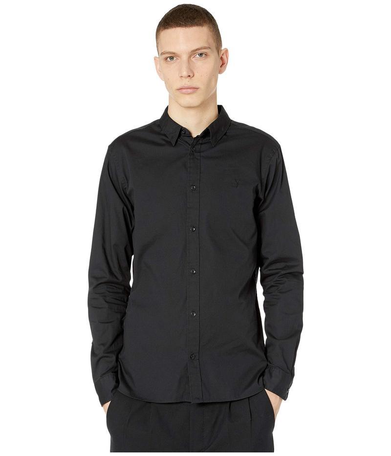 オールセインツ メンズ シャツ トップス Redondo Long Sleeve Shirt Black
