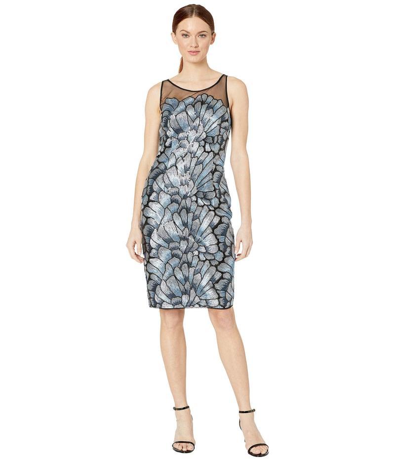 アドリアナ パペル レディース ワンピース トップス Sequin Embroidered Sheath Dress Silver/Blue Mul