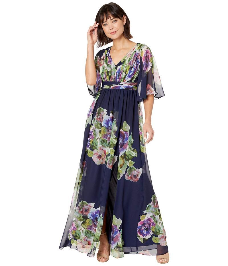 アドリアナ パペル レディース ワンピース トップス Printed Chiffon Evening Gown Navy Multi