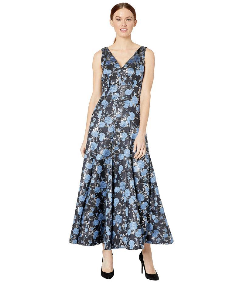 アドリアナ パペル レディース ワンピース トップス Jacquard Midi Dress with Godets Blue Multi