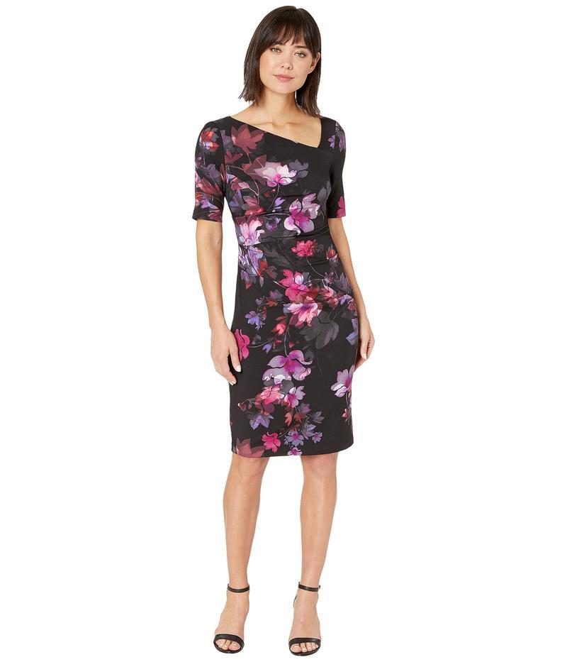 アドリアナ パペル レディース ワンピース トップス Elbow Sleeve Watercolor Lillies Sheath Dress Black Multi