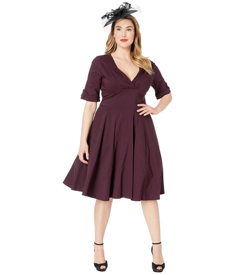 ユニークビンテージ レディース ワンピース トップス Plus Size 1950s Delores Swing Dress with Sleeves Eggplant Purple