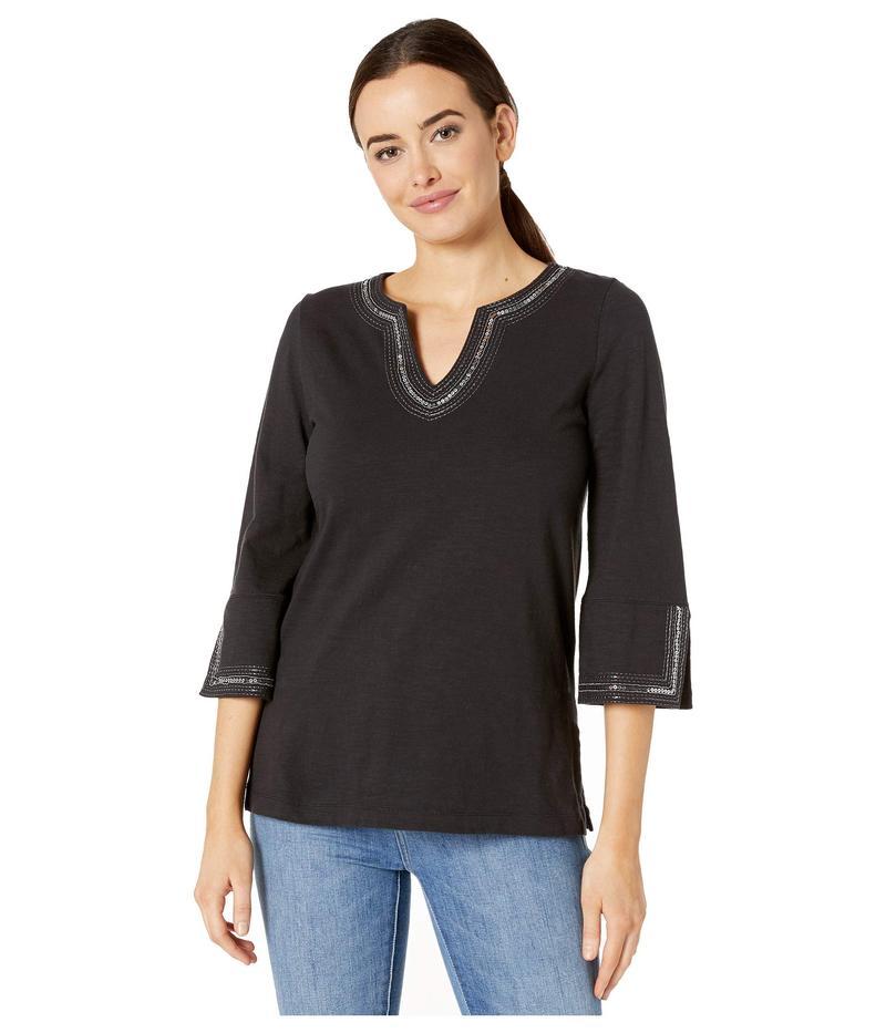 トッミーバハマ レディース シャツ トップス Luxe Sparkle Embellished Cotton Tunic Black