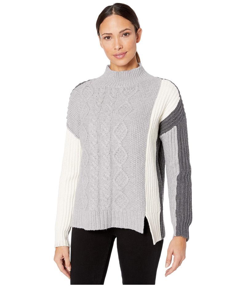 トゥーバイビンスカムート レディース ニット・セーター アウター Long Sleeve Cable Stitch Turtleneck Sweater Light Heather G