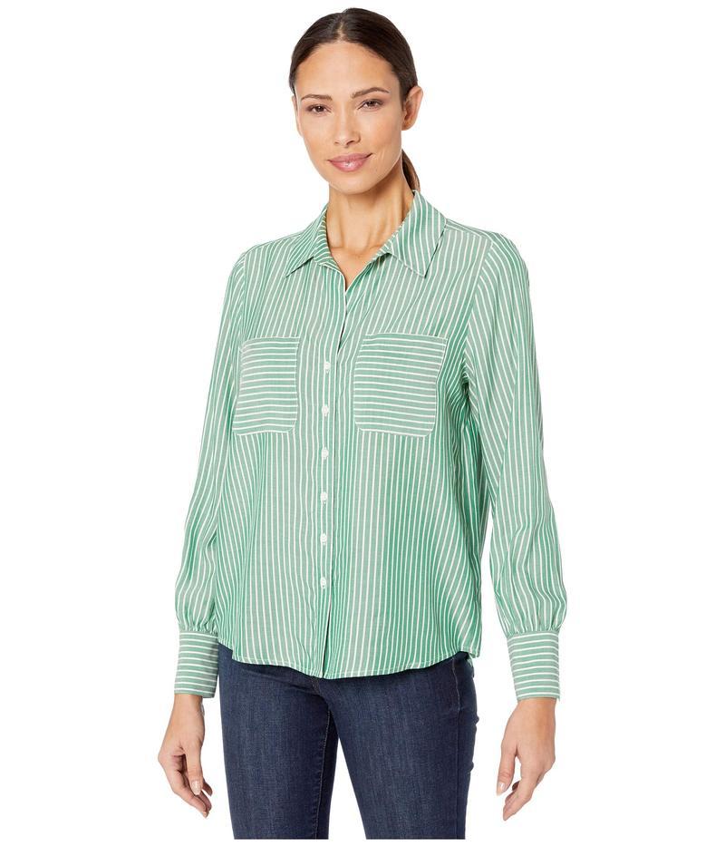 トゥーバイビンスカムート レディース シャツ トップス Long Sleeve Two-Pocket Pinstripe Refresh Button-Down Shirt Everglade