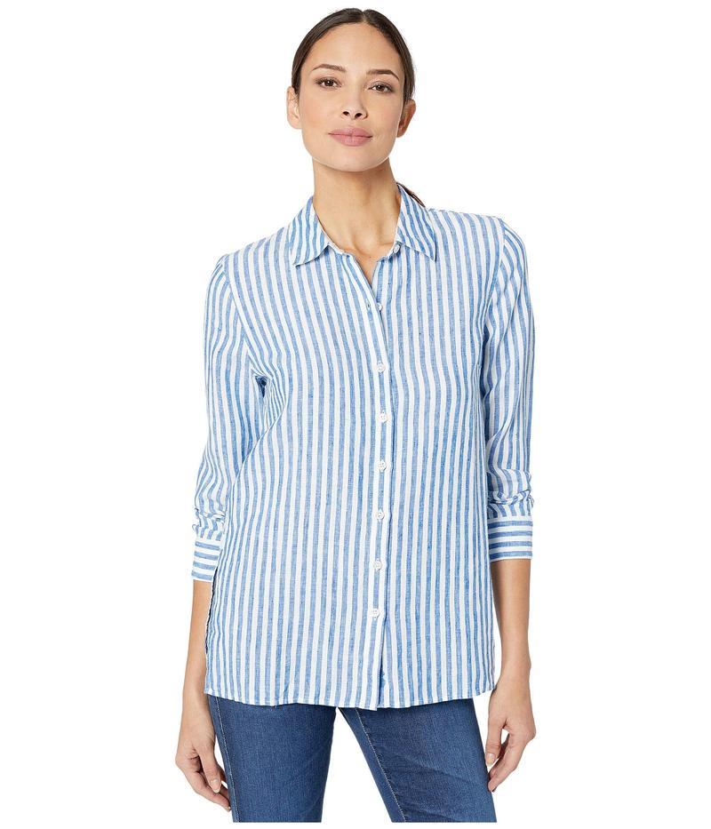 トッミーバハマ レディース シャツ トップス Cabana Stripe Linen Long Sleeve Shirt Turkish Sea