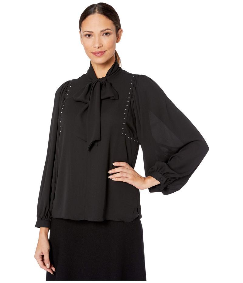 ヴィンスカムート レディース シャツ トップス Long Sleeve Puff Shoulder Embellished Tie Neck Blouse Rich Black