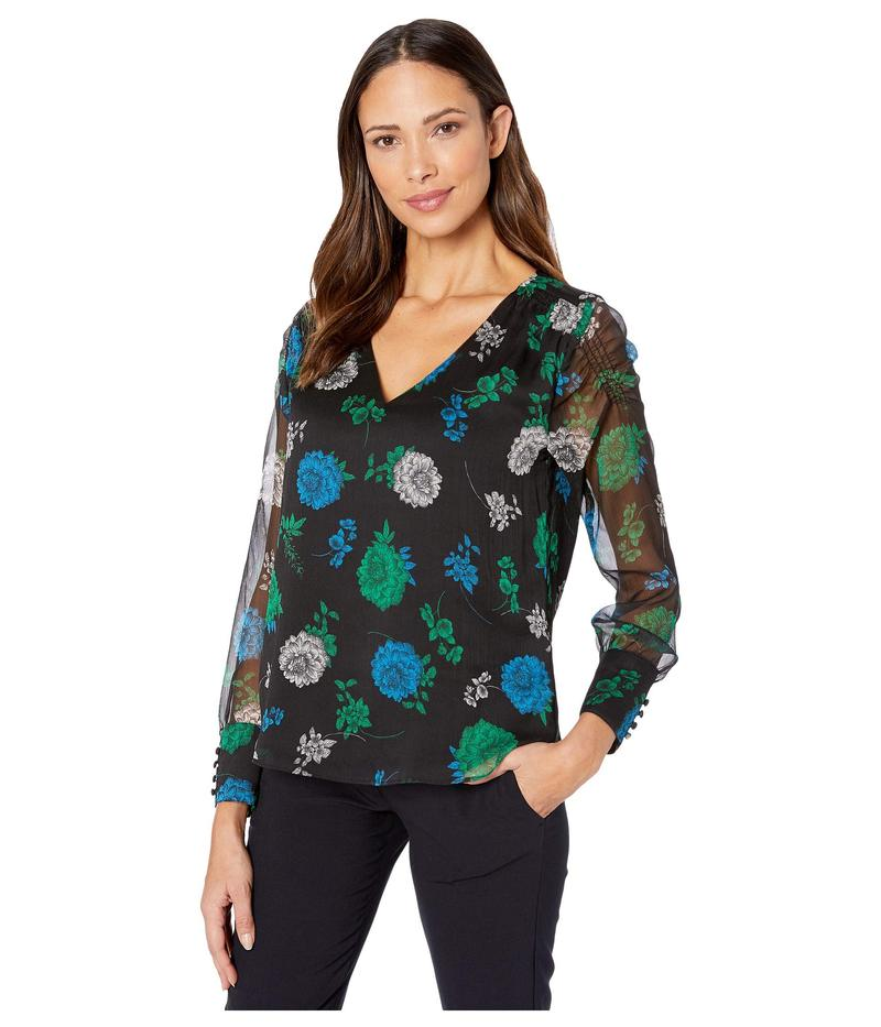 ヴィンスカムート レディース シャツ トップス Long Sleeve Smocked Shoulder Sleeve Floral Lagoon Blouse Rich Black