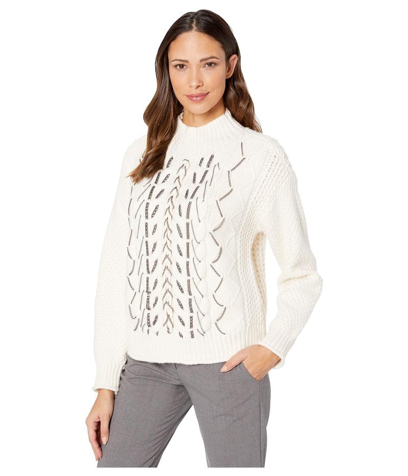 ヴィンスカムート レディース ニット・セーター アウター Chain Trim Cable Stitch Mock Neck Sweater Antique White