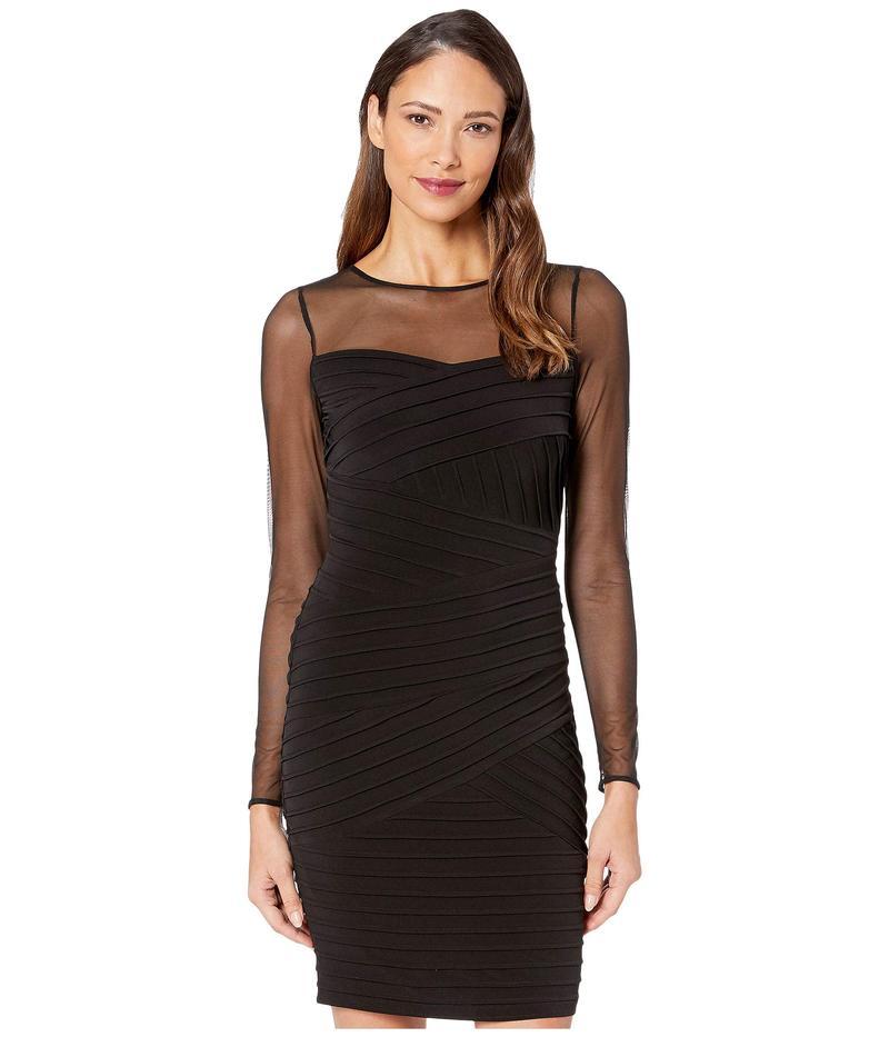 カルバンクライン レディース ワンピース トップス Long Sleeve Pin Tuck Sheath Dress Black