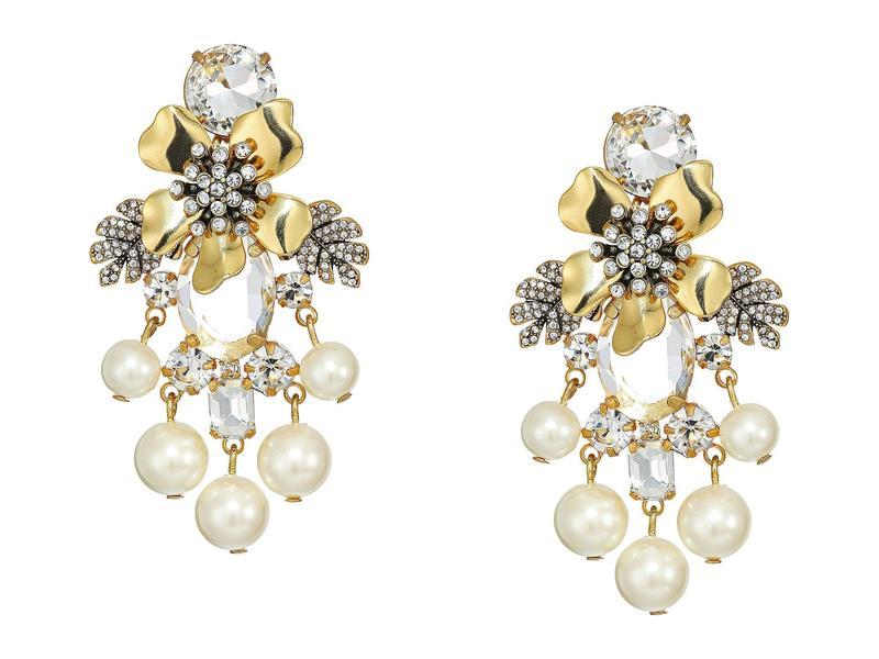 ジェイクルー レディース ピアス・イヤリング アクセサリー Flo Pave and Pearl Earrings Pearl