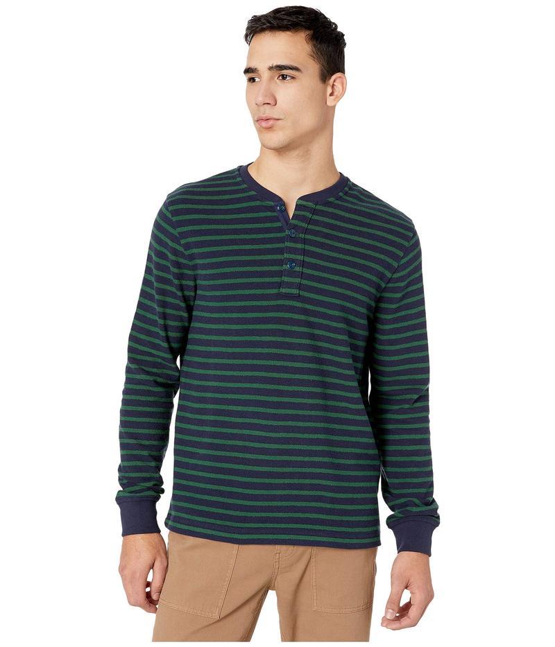 ジェイクルー メンズ シャツ トップス Knit Henley in Textured Stripe Navy Green Star