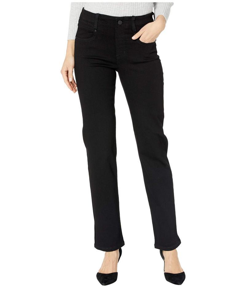 リバプール レディース デニムパンツ ボトムス Gia Glider/Revolutionary Pull-On Straight Jeans in Black Rinse Black Rinse