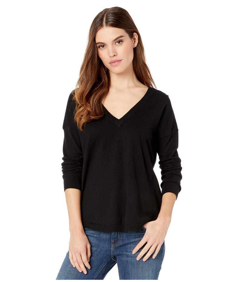 ケンジー レディース ニット・セーター アウター Comfy Viscose Blend V-Neck Sweater with Tie Back Detail KS1K5959 Black