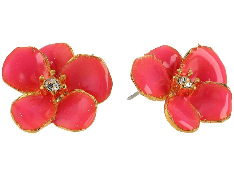 ケネスジェイレーン レディース ピアス・イヤリング アクセサリー Small Gold Flower with Pink Enamel Petals and Crystal Center Post Earrings Gold/Pink/Cryst