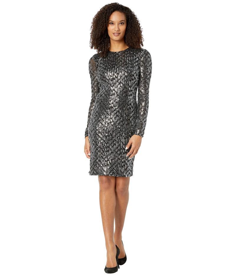 カルバンクライン レディース ワンピース トップス Long Sleeve Sequin Sheath Dress Black/Tin