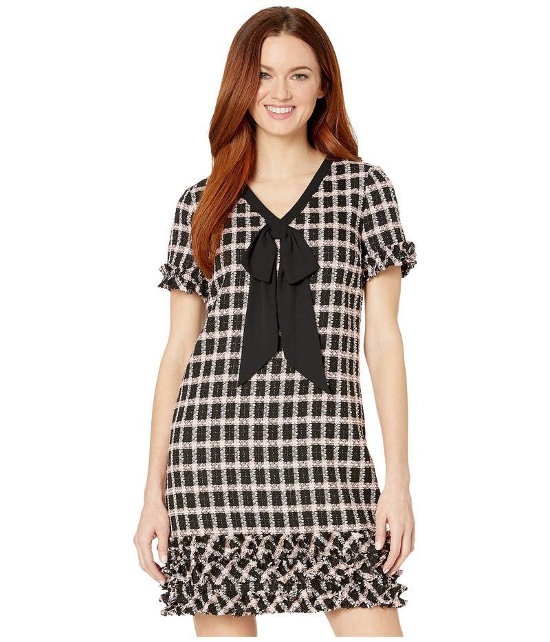 セセ レディース ワンピース トップス Short Sleeve V-Neck Grid Tweed Dress with Tie Rich Black