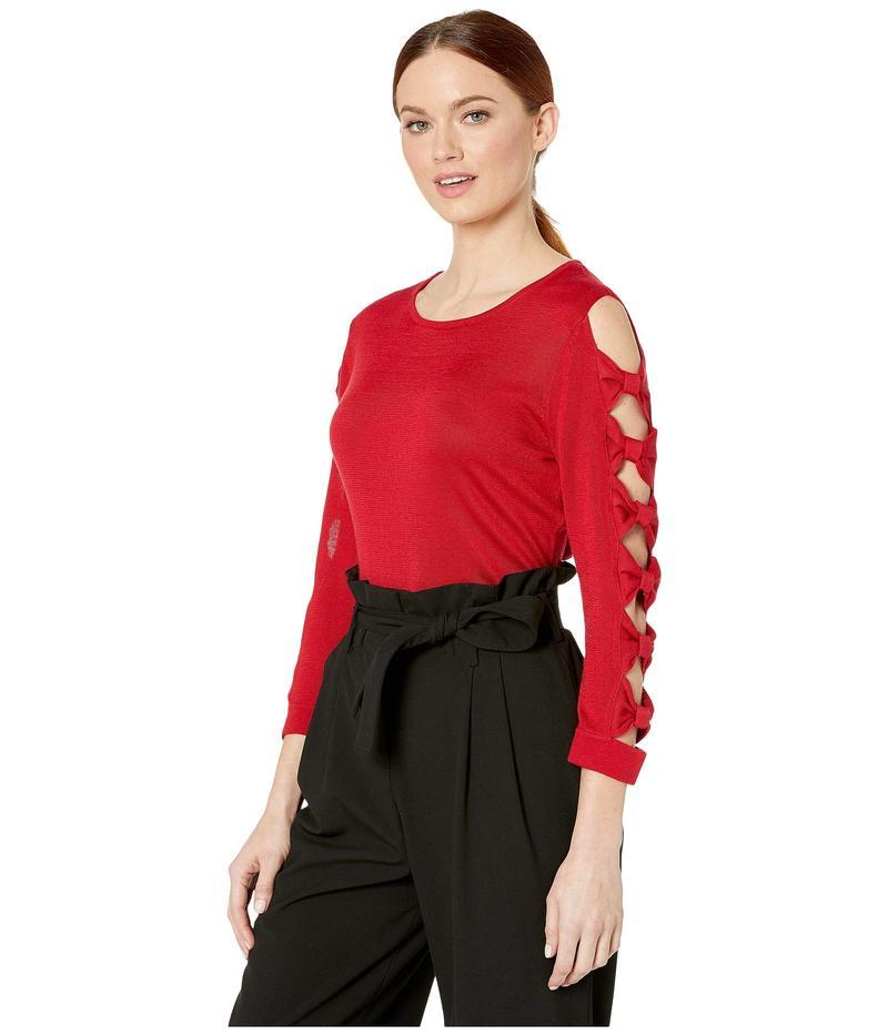 セセ レディース ニット・セーター アウター Long Sleeve Crew Neck Sweater with Bows Ribbon Red