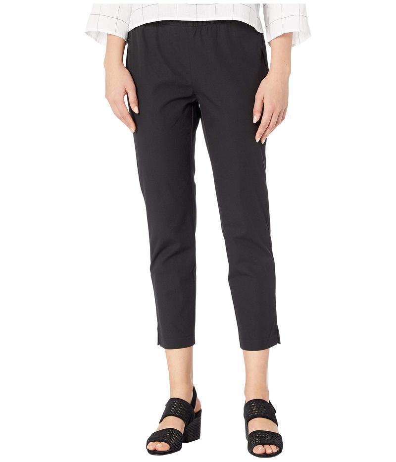 【正規取扱店】 エイリーンフィッシャー レディース カジュアルパンツ ボトムス Organic Cotton Stretch Twill Mid-Rise Ankle Pants w/ Slits Black, クリハシマチ b3e89d90