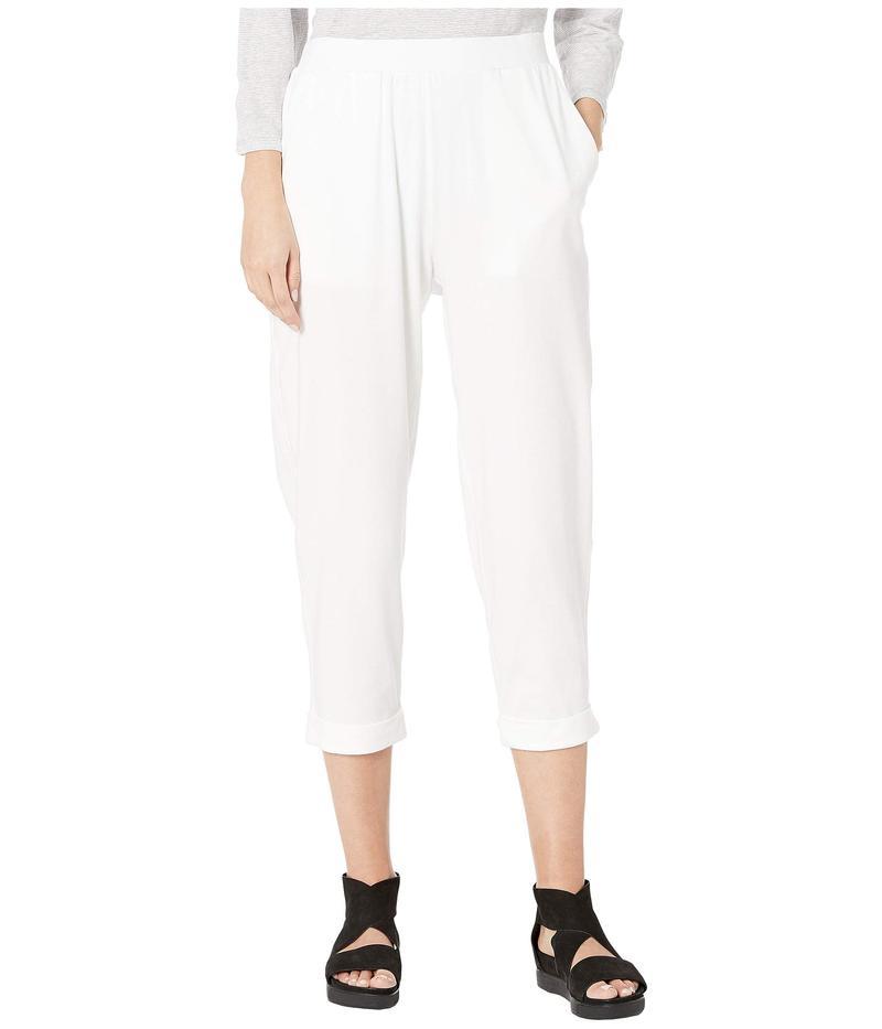 エイリーンフィッシャー レディース カジュアルパンツ ボトムス Organic Cotton Stretch Jersey Slouchy Cropped Pants w/ Faux Cuff White