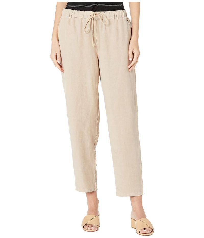 エイリーンフィッシャー レディース カジュアルパンツ ボトムス Tencel Linen Tapered Ankle Pants w/ Drawstring Khaki
