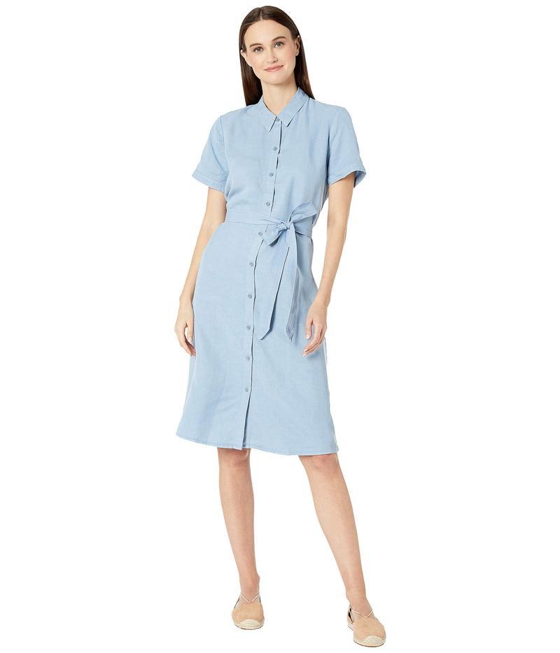 エイリーンフィッシャー レディース ワンピース トップス Tencel Linen Classic Collar Short Sleeve Dress w/ Belt Haze