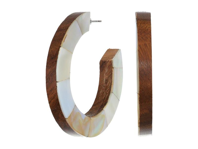 ケネスジェイレーン レディース ピアス・イヤリング アクセサリー Wood/Mother-of-Pearl Double-Sided Hoop Earrings Wood/Mother-of-
