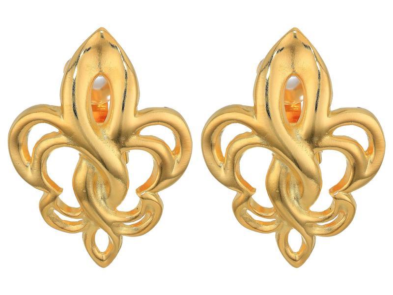 ケネスジェイレーン レディース ピアス・イヤリング アクセサリー Polished Gold Fleur-De-Lis Clip Earrings Polished Gold