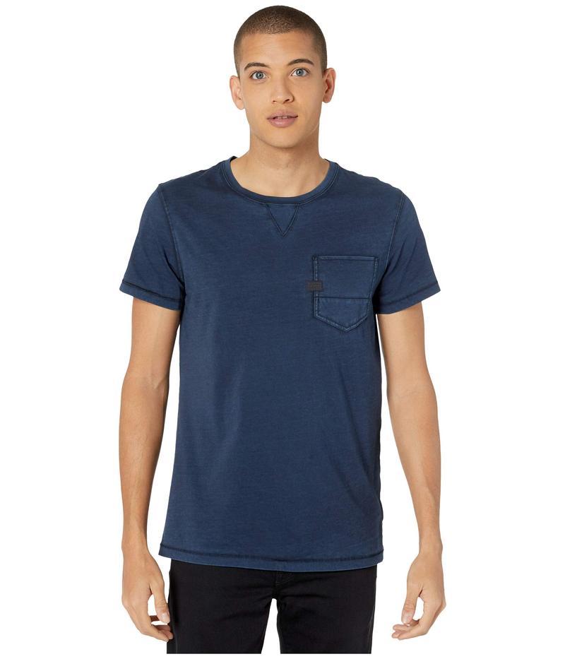 ジースター メンズ シャツ トップス Muon Pocket R Tee Short Sleeve Mazarine Blue